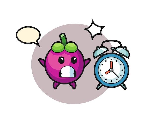 Ilustração dos desenhos animados do mangostão é surpreendida com um despertador gigante, design de estilo fofo para camiseta, adesivo, elemento de logotipo