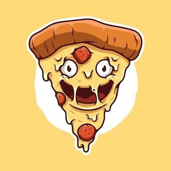 Ilustração dos desenhos animados do mascote da pizza feliz
