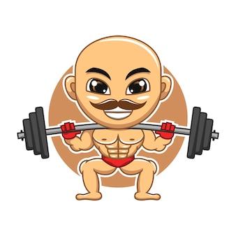 Ilustração dos desenhos animados do mascote do ginásio levantando halteres