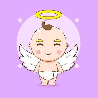 Ilustração dos desenhos animados do menino anjo fofo