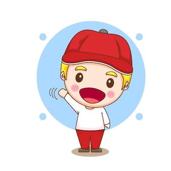 Ilustração dos desenhos animados do menino bonito com chapéu para dizer olá