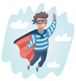 Ilustração dos desenhos animados do menino brincando de super-herói no céu