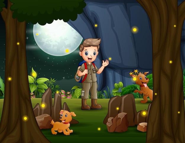 Ilustração dos desenhos animados do menino escoteiro caminhando com dois cachorros