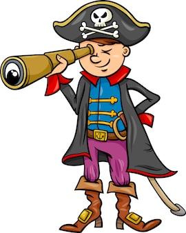 Ilustração dos desenhos animados do menino pirata
