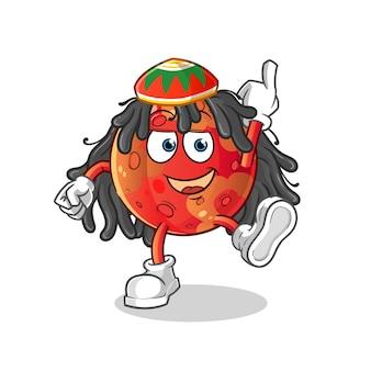 Ilustração dos desenhos animados do menino reggae de marte
