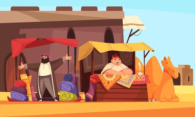 Ilustração dos desenhos animados do mercado oriental
