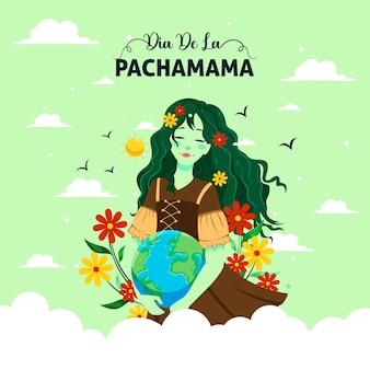 Ilustração dos desenhos animados do modelo de banner do dia de la pachamama