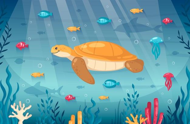 Ilustração dos desenhos animados do mundo subaquático oceano