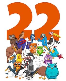 Ilustração dos desenhos animados do número vinte e dois com animais engraçados de pássaros