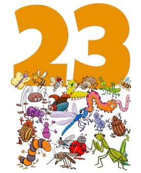 Ilustração dos desenhos animados do número vinte e três com personagens engraçados de animais de insetos