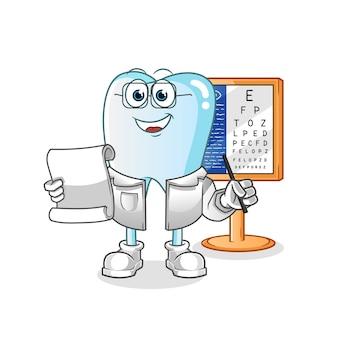 Ilustração dos desenhos animados do oculista dentário