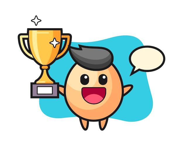 Ilustração dos desenhos animados do ovo é feliz, segurando o troféu de ouro, estilo bonito para camiseta, adesivo, elemento do logotipo