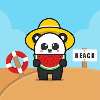 Ilustração dos desenhos animados do panda fofo comendo melancia na praia