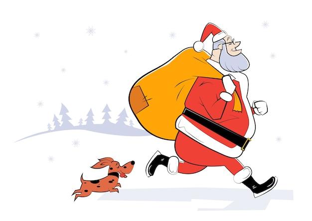 Ilustração dos desenhos animados do papai noel com saco de presentes e cachorro pequeno. sketch ilustração
