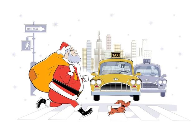 Ilustração dos desenhos animados do papai noel em nova york com um saco de presentes e um cachorro pequeno. sketch ilustração