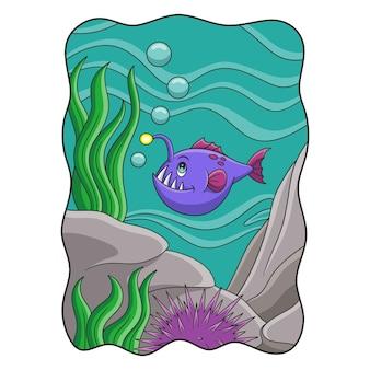 Ilustração dos desenhos animados do peixe-pescador nadando no mar com ouriços-do-mar