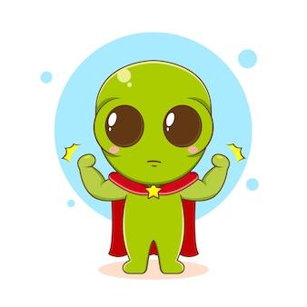 Ilustração dos desenhos animados do personagem alienígena fofinho como super-herói
