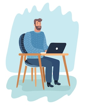 Ilustração dos desenhos animados do personagem de desenho animado. hipster barbudo sentado na sala, trabalhando com laptop e chorar.