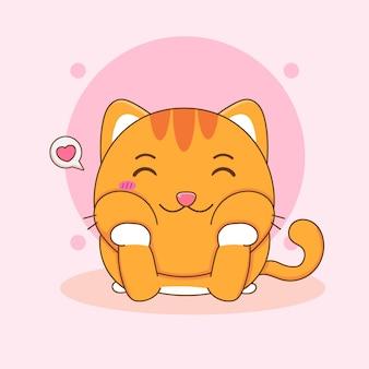 Ilustração dos desenhos animados do personagem de gato gordinho fofo