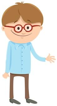 Ilustração dos desenhos animados do personagem de menino com óculos