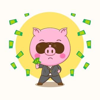 Ilustração dos desenhos animados do personagem de porco rico fofo como empresário segurando dinheiro