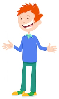 Ilustração dos desenhos animados do personagem de quadrinhos menino feliz