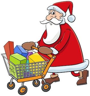 Ilustração dos desenhos animados do personagem feliz do papai noel comprando com carrinho na época do natal