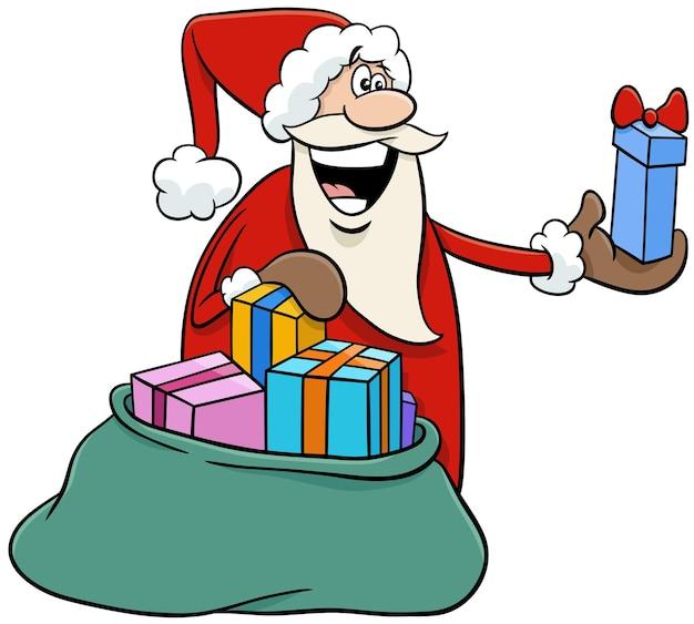 Ilustração dos desenhos animados do personagem feliz do papai noel distribuindo presentes na época do natal