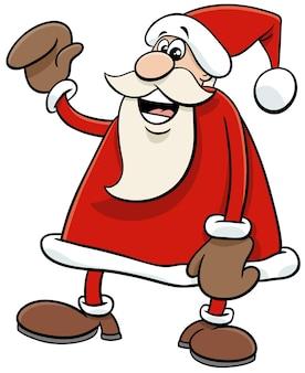 Ilustração dos desenhos animados do personagem feliz do papai noel na época do natal