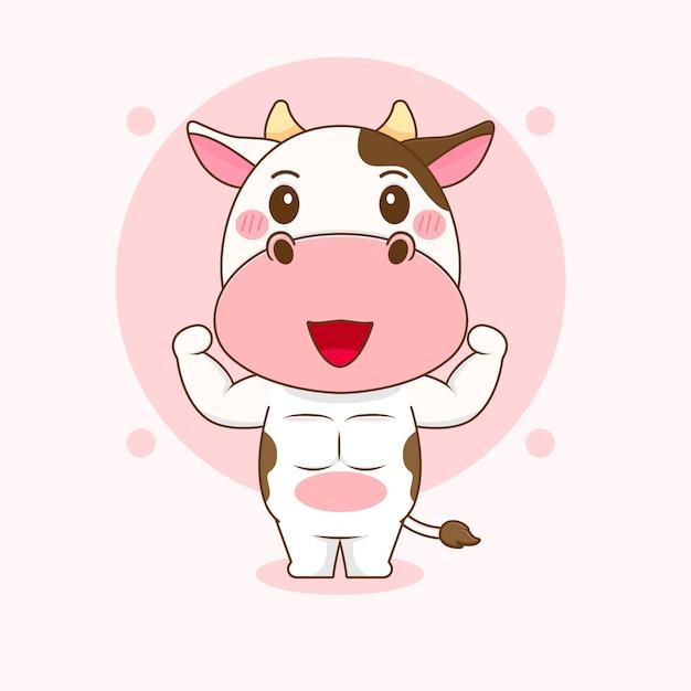 Ilustração dos desenhos animados do personagem fofinho da vaca forte