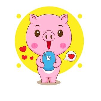 Ilustração dos desenhos animados do personagem fofo porco com smartphone