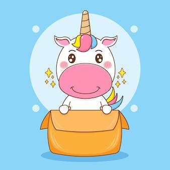 Ilustração dos desenhos animados do personagem fofo unicórnio brincando na caixa