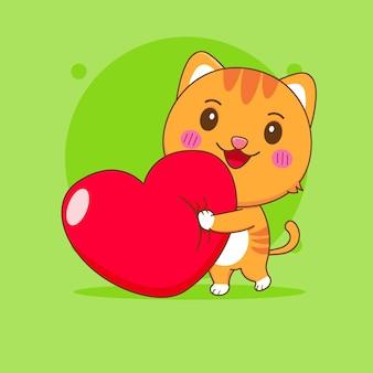 Ilustração dos desenhos animados do personagem gato fofo com coração de amor