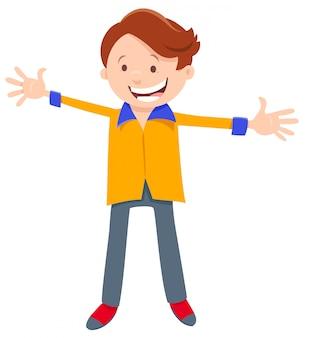 Ilustração dos desenhos animados do personagem menino feliz
