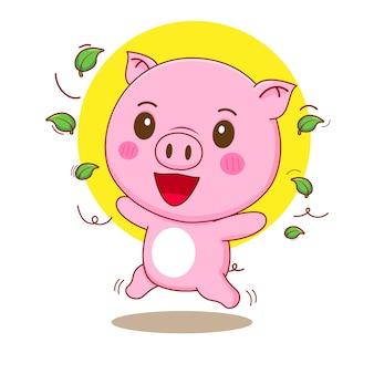 Ilustração dos desenhos animados do personagem porco feliz fofinho com folhas ao redor