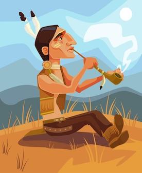 Ilustração dos desenhos animados do personagem principal do xamã indiano fumando cachimbo da paz