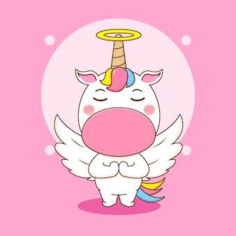 Ilustração dos desenhos animados do personagem unicórnio fofo como um anjo