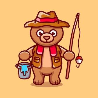 Ilustração dos desenhos animados do pescador urso fofo