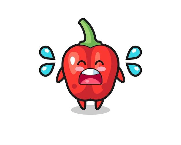 Ilustração dos desenhos animados do pimentão vermelho com gestos de choro