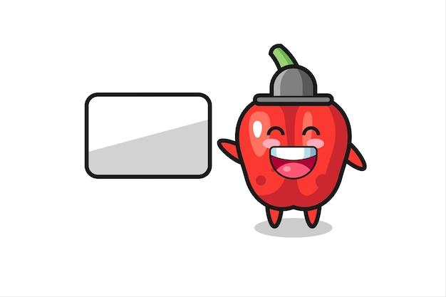 Ilustração dos desenhos animados do pimentão vermelho fazendo uma apresentação