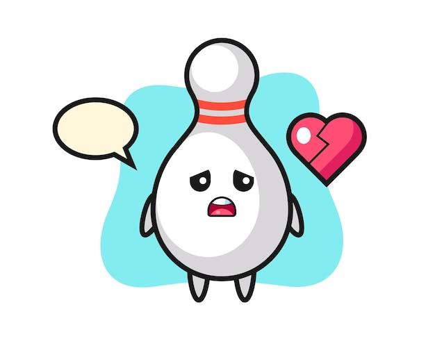 Ilustração dos desenhos animados do pino de boliche com coração partido, design de estilo fofo para camiseta, adesivo, elemento de logotipo