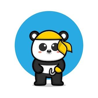 Ilustração dos desenhos animados do pirata panda fofo