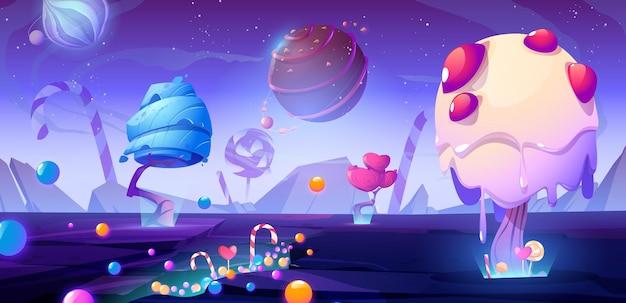 Ilustração dos desenhos animados do planeta dos doces com árvores alienígenas de fantasia e paisagem de natureza incomum mágica de doces