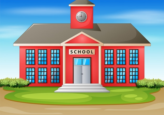 Ilustração dos desenhos animados do prédio da escola