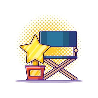 Ilustração dos desenhos animados do prêmio e do diretor da cadeira. branco do conceito do ícone do cinema isolado. estilo flat cartoon