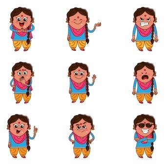 Ilustração dos desenhos animados do punjabi conjunto de mulher.
