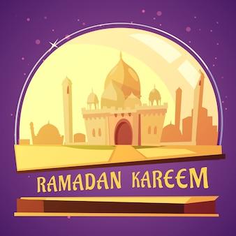 Ilustração dos desenhos animados do ramadã mesquita árabe