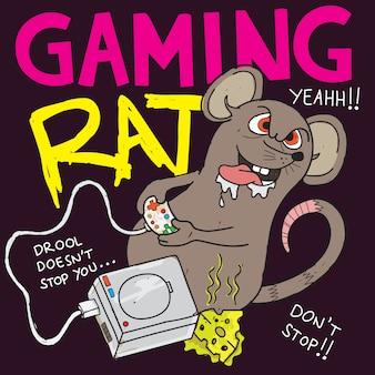 Ilustração dos desenhos animados do rato do jogo para a camisa de t