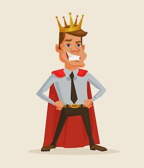 Ilustração dos desenhos animados do rei empresário de sucesso