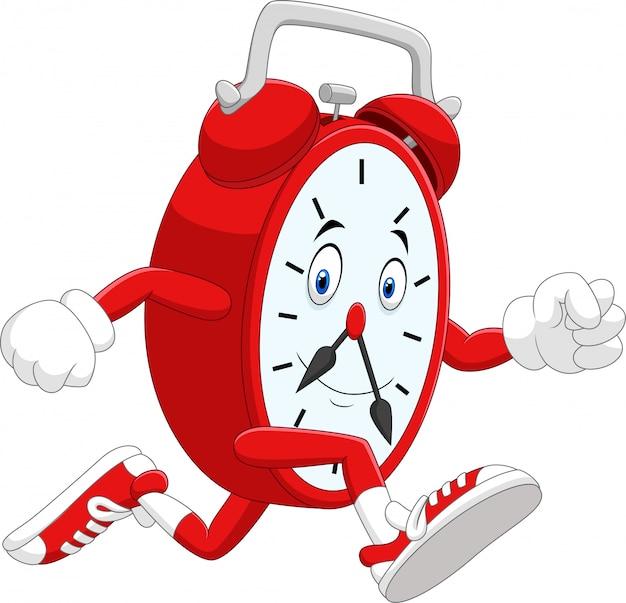 Ilustração dos desenhos animados do relógio sorridente correndo